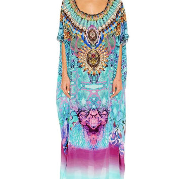 Camilla Round Neck Kaftan in Tides of Aurora