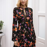 Simplee Flower Print Lace Insert Flounce Sleeve Dress