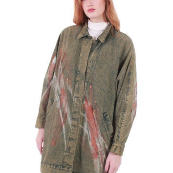 80s Vintage Batwing Painted Denim Coat Cocoon Massive Draped Avant Garde Sleeves Wearable Art Made in the USA Unisex One Size Fits Most All