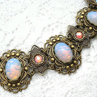 Sierra Sunrise Bracelet - Blue Glass Opals on Brass Filigree Links
