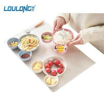 LOULONG Eco-Friend Wheat Material Children Lunch Box In Bowl Mickey Mouse Big Head Bowl Fruit Salad Dish Tableware Bento LB013