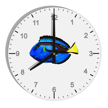 """Blue Tang Fish 8"""" Round Wall Clock with Numbers"""