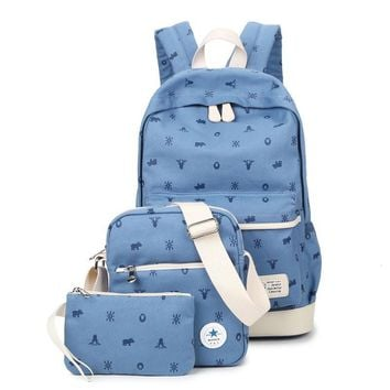 Backpacks Set Cute Canvas School Bags For Teenager Girls 3 Bags Set Backpack + Shoulder Bag + Purse