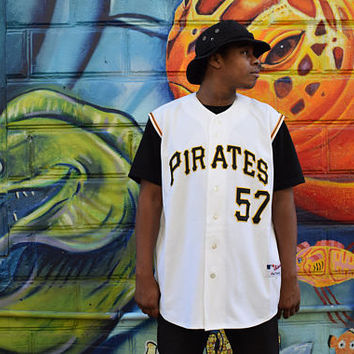RARE Baseball Jersey - Stitched Zachary Duke Pittsburgh Pirates Sleeveless Authentic MAJESTIC Jersey. Sz 52