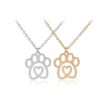 dog paw prints in heart necklaces crystal hollow Puppy cat Paw Charm Memorial jewelry pet lover enamel necklace live love rescue