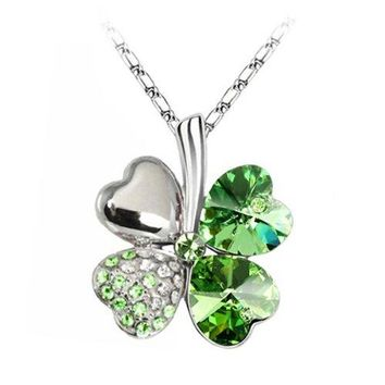 BodyJ4You Necklace Pendant CZ Crystals Irish Green Four Leaf Lucky Clover Fashion