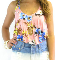 Bay Point Peach Floral Crop Top