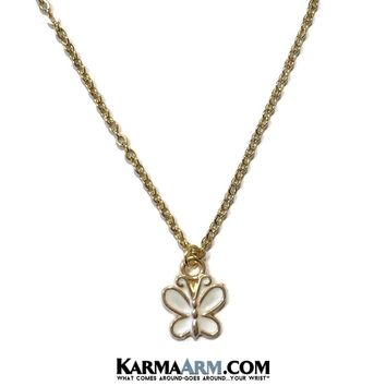 Necklace | CHANGES | Vintage Enamel White Butterfly | Gold Stainless Steel Chain Necklace