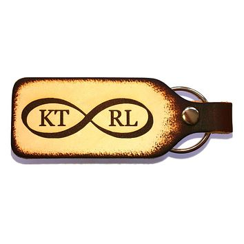 Infinity Sign Couples Personalized Leather Engraved Keychain