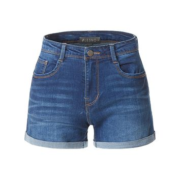 LE3NO Womens Casual High Waisted Fitted Cuffed Hem Denim Shorts