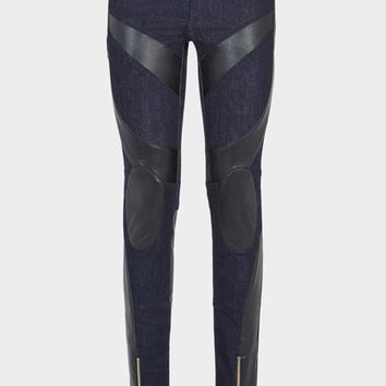 Versace Eco Leather Insert Biker Jeans for Women | Official Website