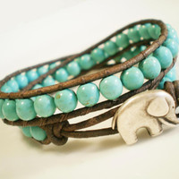 Turquoise Beaded Leather Wrap w Elephant