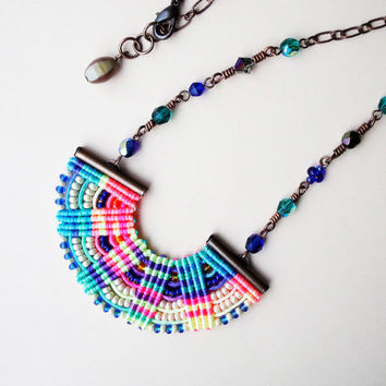 Micro macrame necklace - Bright Colorful Rainbow Bohemian Free Spirit Unique