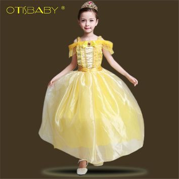 Summer 2018 Girls Beauty and the Beast Belle Dress Children's Christmas Party Cosplay Costume Aurora Dress for 4 5 6 Years Girl