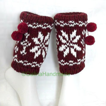 Christmas Knit Boot Cuffs Leg Warmers Boot Toppers Nordic Pattern With Pom Pom Red White