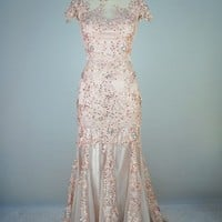 Mermaid Lace Beading Appliques Floor Length Pink Prom Dress, Evening Dress