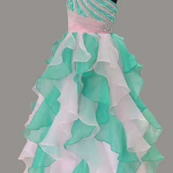free shipping 2016 new style kids girl formal pastel party long flower girl dresses pageant gowns Vestido de nina de las flores