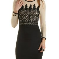 Embroidered Long Sleeve Bodycon Dress - Black Combo