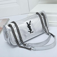 YSL Fashionable Women Shopping Bag Leather Metal Chain Crossbody Satchel Shoulder Bag Handbag Silvery