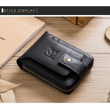 BULLCAPTAIN Men Genuine BLACK Leather Brand RFID Wallet Male Organizer Coin Purse Pockets Slim Fashion Zipper Clamp Wallet Card Holder FREE SHIPPING