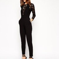 ASOS | ASOS Jumpsuit in Lace with Longsleeves at ASOS