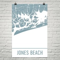 Jones Beach NY Street Map Poster