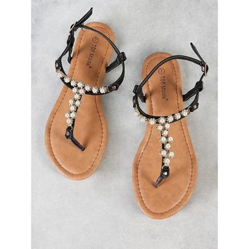 Pearl and Jewel Embellished T-Strap Thong Sandal BLACK