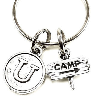 Sale...Camp, outdoors, nature  keyring, keychain, bag charm, purse charm, monogram personalized custom gifts under 10 item No.33