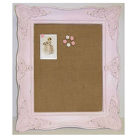 Shabby Chic Distressed Pink Ornate Framed Canvas Pin Board w/ Rose Push Pins