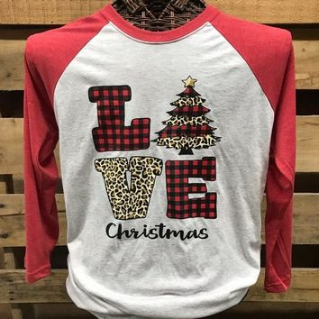 Southern Chics Love Christmas Plaid Raglan Raglan Canvas Girlie 3/4 Long Sleeve T Shirt