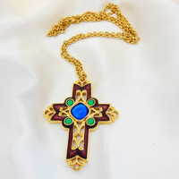 Vintage Necklace AVON Cross with Enamel and Cabochons
