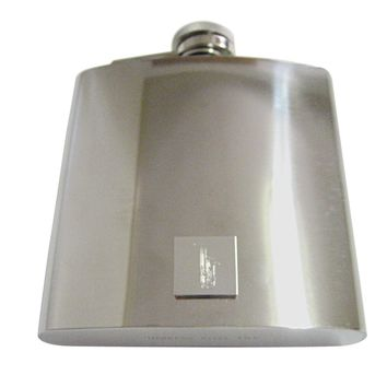 Silver Toned Etched Saxophone Music Instrument 6 Oz. Stainless Steel Flask