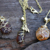 Yellow Gold citrine / sea glass drop Honey bee necklace, sweet as honey SMALL citrine necklace