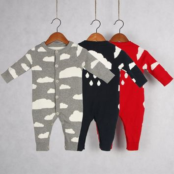 2017 new brand knitting baby Rompers Newborn Boys Girls Aumter Romper Sweater cute Clouds baby clothes