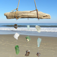 Sea Glass Winchime, Suncatcher, Mobile,Driftwood,Sea Glass,Windchime, Mermaid Tears,Bottle Lips