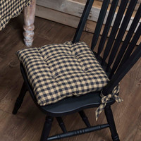 Black and Tan Check Chair Pad
