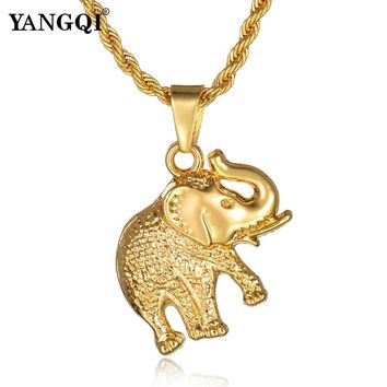 YANGQI Hiphop Stainless Steel Gold Color Elephant Necklace Women Men Hip Hop Lucky Elephant Charm Pendant Necklace Jewelry Gifts