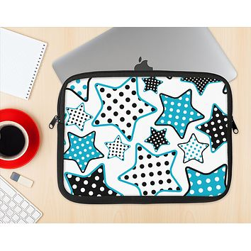 The Blue Polkadotted Vector Stars Ink-Fuzed NeoPrene MacBook Laptop Sleeve