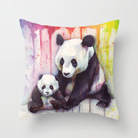 Pandas and Rainbow Watercolor Throw Pillow by Olechka