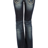 Rock & Roll Cowgirl Womens Embroidered Low Rise Boot Cut Jeans - Dark Vintage Wash