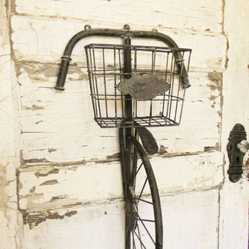 Vintage Bicycle Wall Decor,Bicycle Wall Decor,Bicycle Wall Basket,Rustic Wall Bike,Wall Bike,Vintage Inspired Bike,French Country Wall Decor
