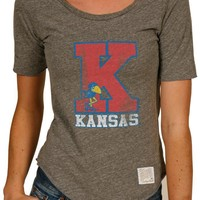 Kansas Jayhawks Original Retro Brand T-Shirt - Jayhawks Grey Rounded Bottom Short Sleeve Scoop