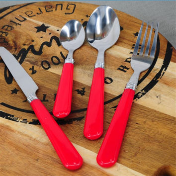 HA213-11 Free Shipping High Quality Stainless Steel Dinnerware Cutlery Set Red Flatware 4PCS Knife+Fork+Soup Spoon+Tea Spoon
