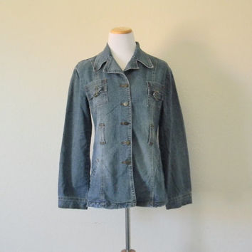 FREE usa SHIPPING vintage Women's denim military blue denim jacket button up jacket retro size XL