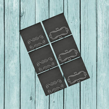 Chalkboard Food Tent Cards, Paris Theme Party, Baby Shower, Swirly Frames, Party, diy Decorations, instant download, printable, Paris Party