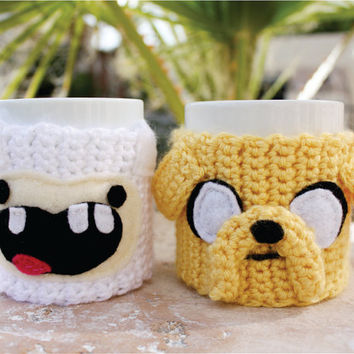 Jake the Dog Inspired Coffee Mug Tea Cup Cozy: Adventure Time -ish Crochet Knit Sleeve