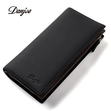 Men Wallets Long Genuine Leather Male Purse Large Capacity Phone Bag Real Cowhide Man Day Clutches Bag Business