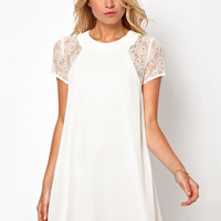 Lace Short Sleeve High Waist Mini Dress