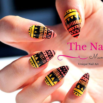 Aztec False Nails - Yellow Orange Ombre Nails - Handpainted Artificial Nail Set - available in Stiletto Nails, Oval Nails, Square Nails