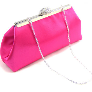 Hot Pink and Silver Wedding Clutch